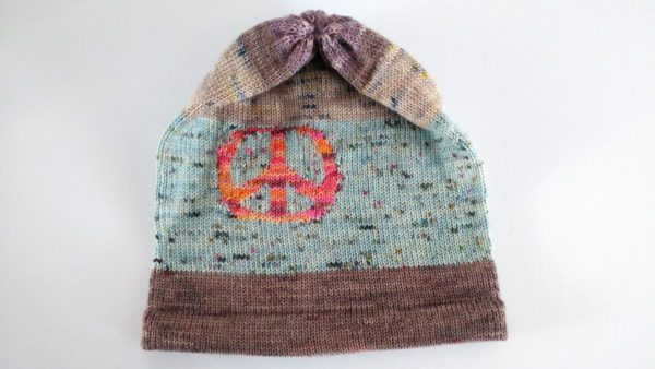 peace sign knitted hat
