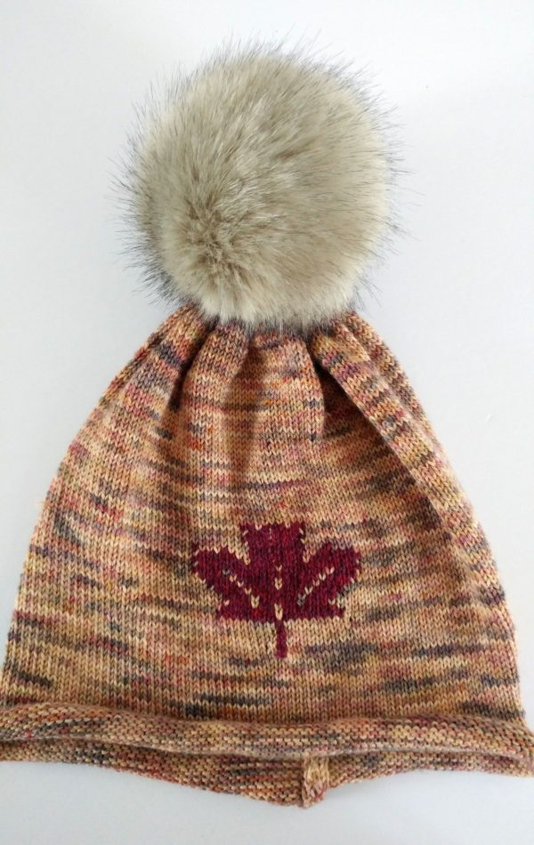 maple leaf hat with pompom